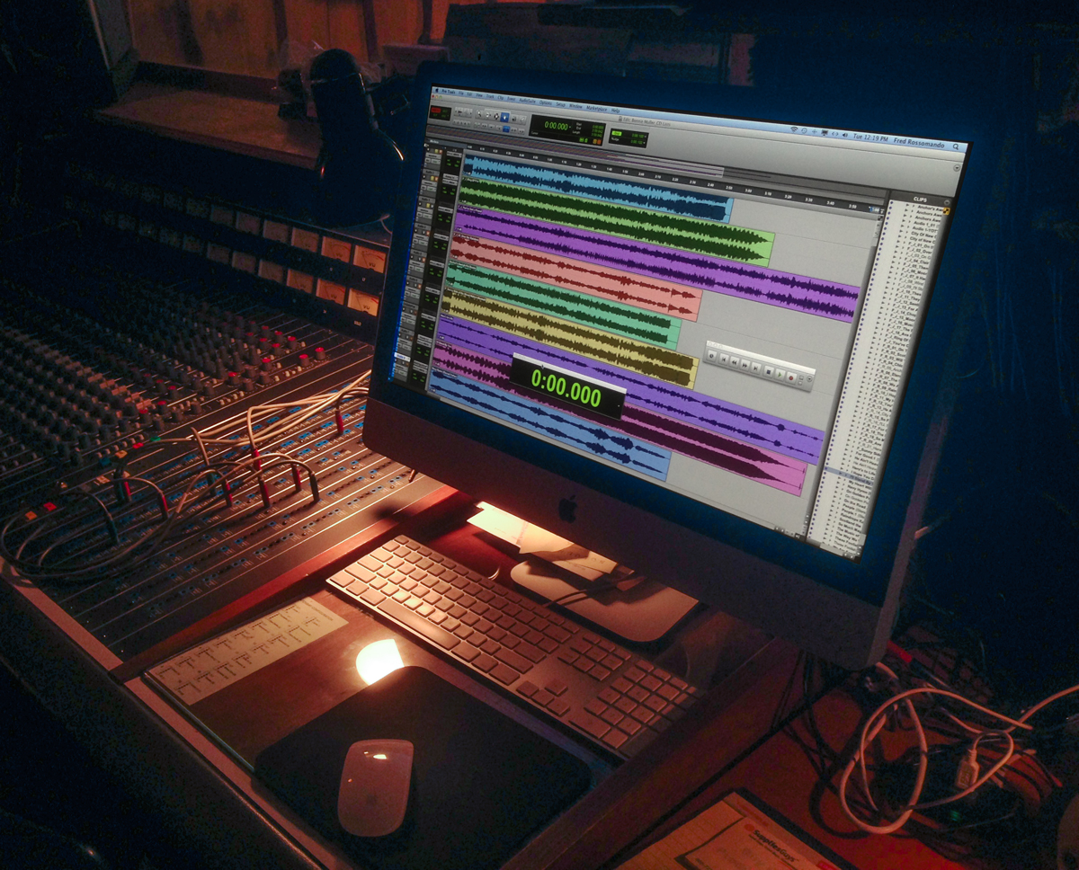 Photo of ProTools workstation and console.